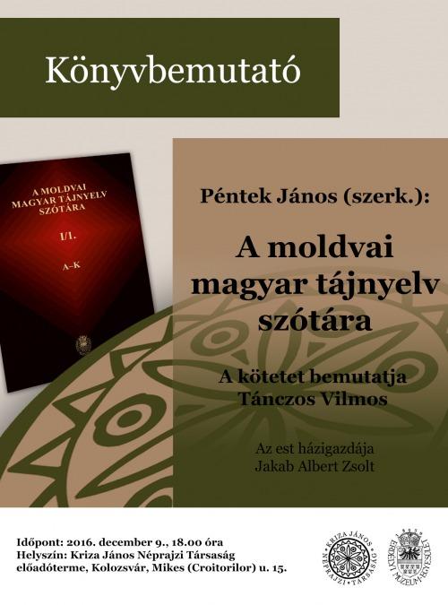A moldvai magyar tájnyelv szótára bemutatója a Kriza Társaságnál