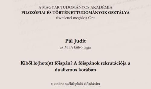 Pál Judit székfoglaló előadása