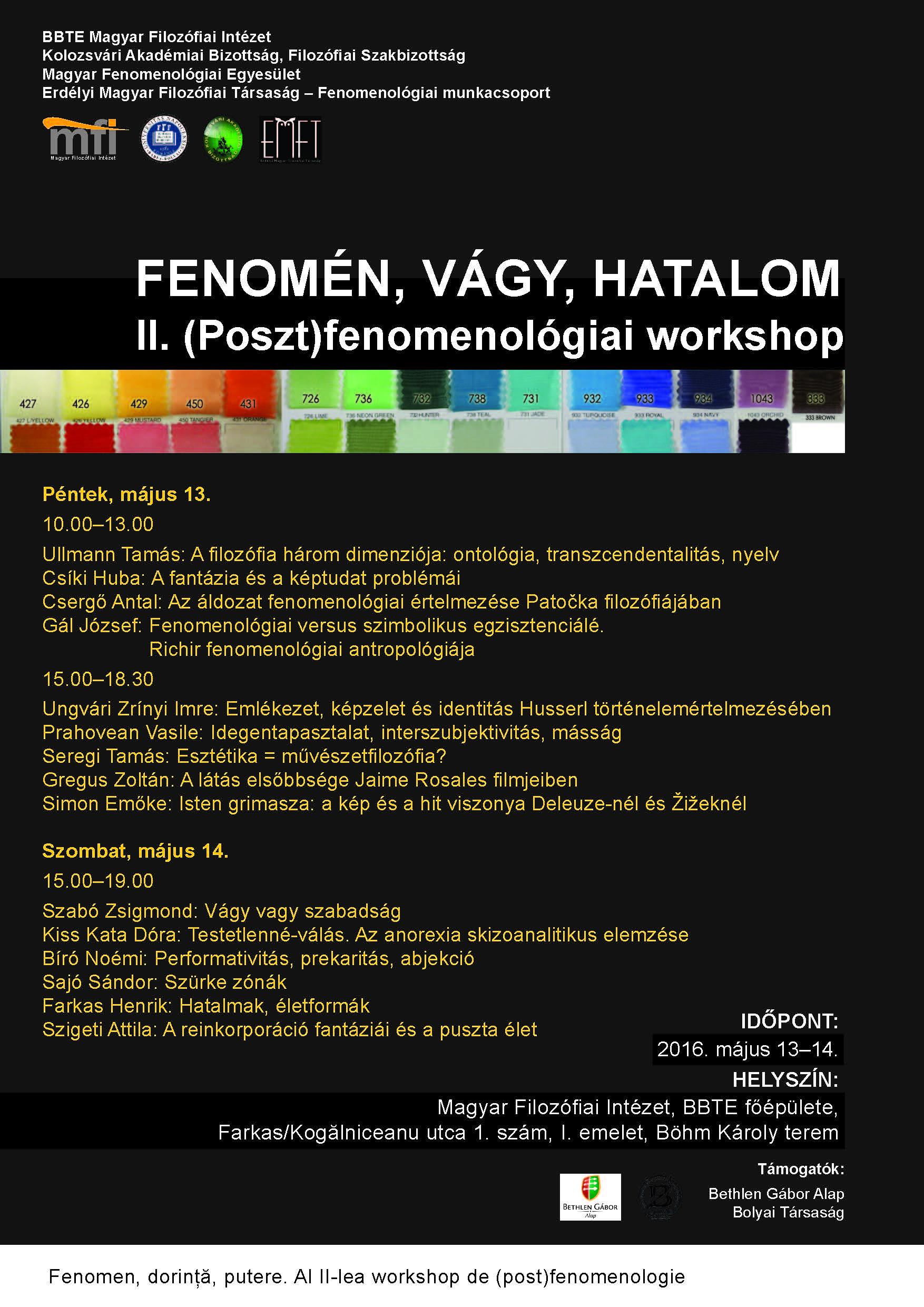 Fenomén, vágy, hatalom - filozófiai workshop