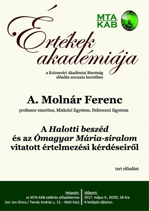 A. Molnár Ferenc előadása az Értékek Akadémiája sorozatban