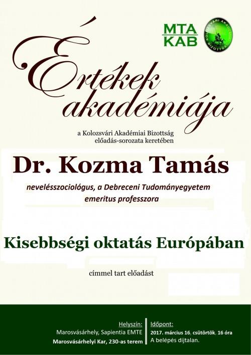 Kozma Tamás előadása Marosvásárhelyen az Értékek Akadémiája sorozatban
