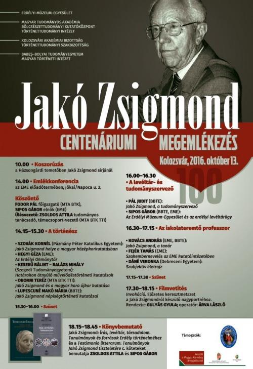 Centenáriumi megemlékezés Jakó Zsigmondra